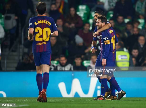 Luis Suarez of FC Barcelona celebrates after scoring the fifth goal for FC Barcelona with his team mate Lionel Messi of FC Barcelona during the La...