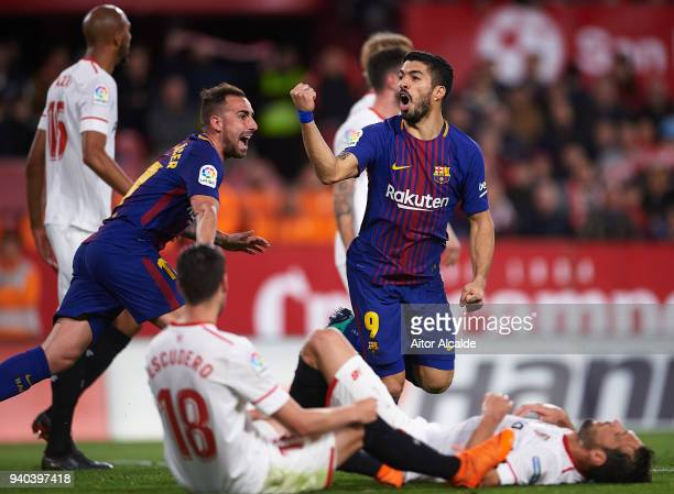 Luis Suarez of FC Barcelona celebrates after scoring the first goal of FC Barcelona during the La Liga match between Sevilla CF and FC Barcelona at...