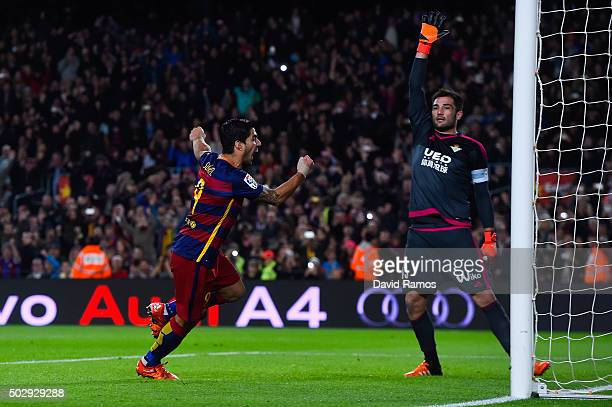 Luis Suarez of FC Barcelona celebrates after scoring the opening goal during the La Liga match between FC Barcelona and Real Betis Balompie at Camp...