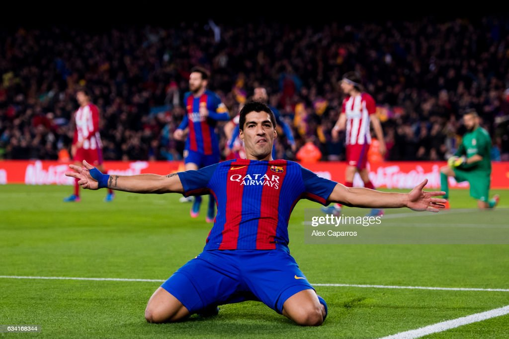 Luis Suarez of FC Barcelona celebrates after scoring the opening goal during the Copa del Rey semi-final second leg match between FC Barcelona and Atletico de Madrid at Camp Nou on February 7, 2017 in Barcelona, Spain.