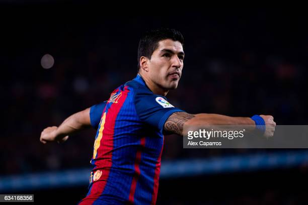 Luis Suarez of FC Barcelona celebrates after scoring the opening goal during the Copa del Rey semifinal second leg match between FC Barcelona and...