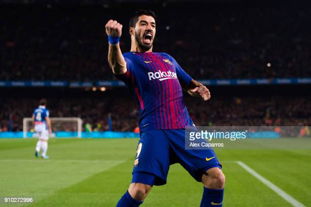 Luis Suarez of FC Barcelona celebrates after scoring the opening goal during the Spanish Copa del Rey Quarter Final Second Leg match between FC...