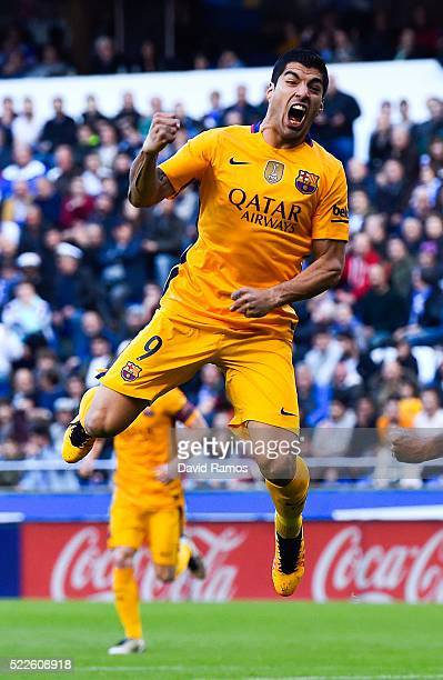 Luis Suarez of FC Barcelona celebrates after scoring the opening goalduring the La Liga match between RC Deportivo La Coruna and FC Barcelona at...