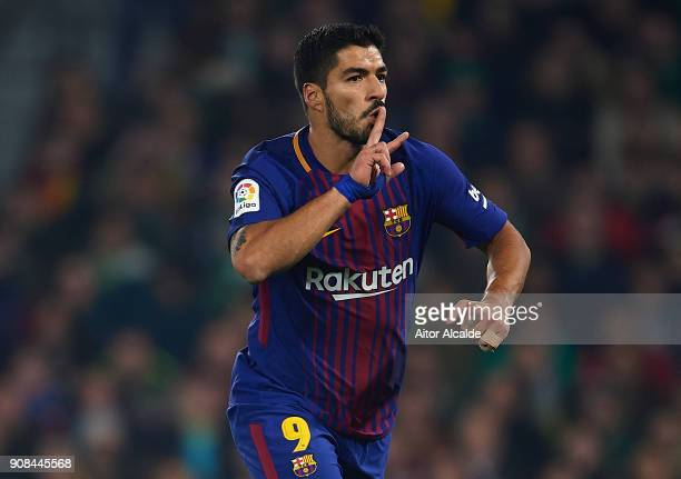 Luis Suarez of FC Barcelona celebrates after scoring the third goal for FC Barcelona during the La Liga match between Real Betis and Barcelona at...
