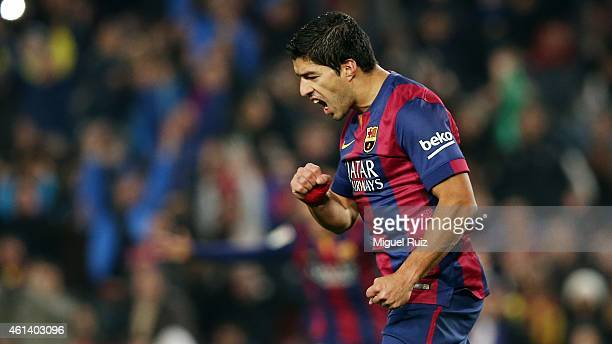Luis Suarez of FC Barcelona celebrates as he scored the second goal during the Copa del Rey match between FC Barcelona and Elche CF at Camp Nou on...