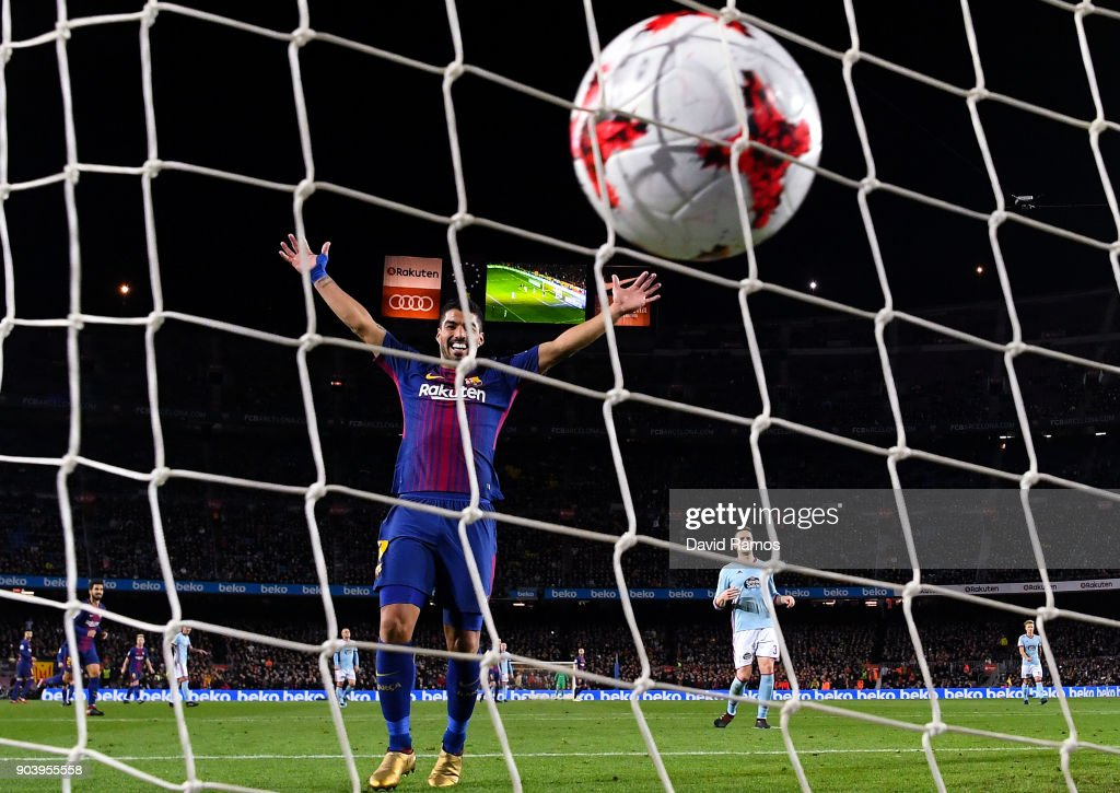 Luis Suarez of FC Barcelona celebrates as Jordi Alba of FC Barcelona (Not in Picture) scores his team's third goal during the Copa del Rey round of 16 second leg match between FC Barcelona and Celta de Vigo at Camp Nou on January 11, 2018 in Barcelona, Spain.