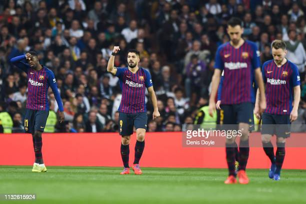 Luis Suarez of FC Barcelona celebrates his team's first goal during the Copa del Rey Semi Final second leg match between Real Madrid and FC Barcelona...