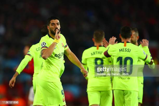 Luis Suarez of FC Barcelona celebrates scoring a goal to make it 01 during the UEFA Champions League Quarter Final first leg match between Manchester...