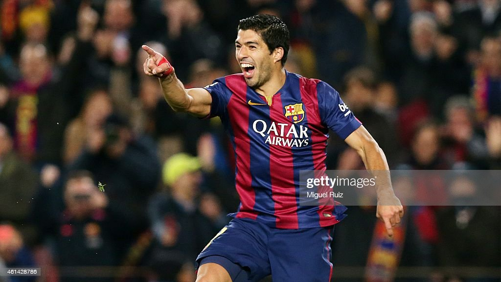 Luis Suarez of FC Barcelona celebrates scoring his team's second goal during the La Liga match between FC Barcelona and Atletico Madrid at Camp Nou on January 11, 2015 in Barcelona, Spain.