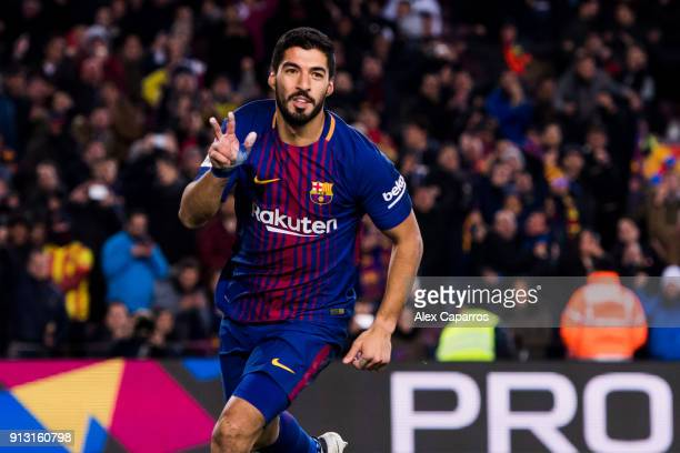 Luis Suarez of FC Barcelona celebrates scoring the opening goal during the Copa del Rey semifinal first leg match between FC Barcelona and Valencia...