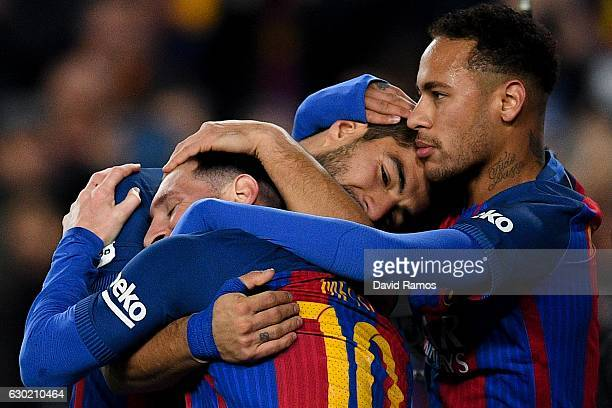Luis Suarez of FC Barcelona celebrates with his team mates Lionel Messi and Neymar Jrafter scoring his team's second goal during the La Liga match...