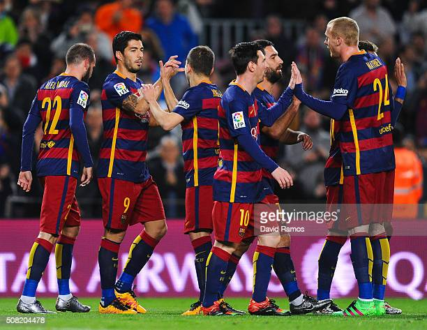 Luis Suarez of FC Barcelona celebrates with his teammates after scoring his team's second goal during the Copa del Rey Semi Final first leg match...