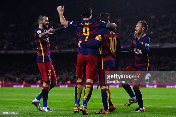 Luis Suarez of FC Barcelona celebrates with his teammates after scoring his team's sixth goal during the Copa del Rey Semi Final first leg match...