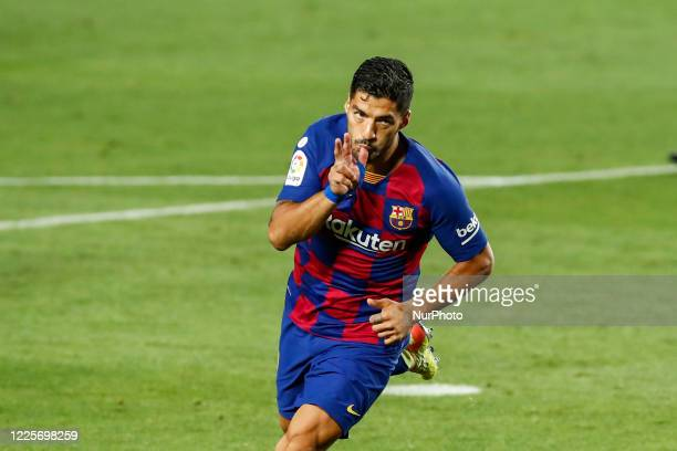 Luis Suarez of FC Barcelona celebrating a goal during La Liga match between FC Barcelona and RCD Espanyol behind closed doors due to Coronavirus at...