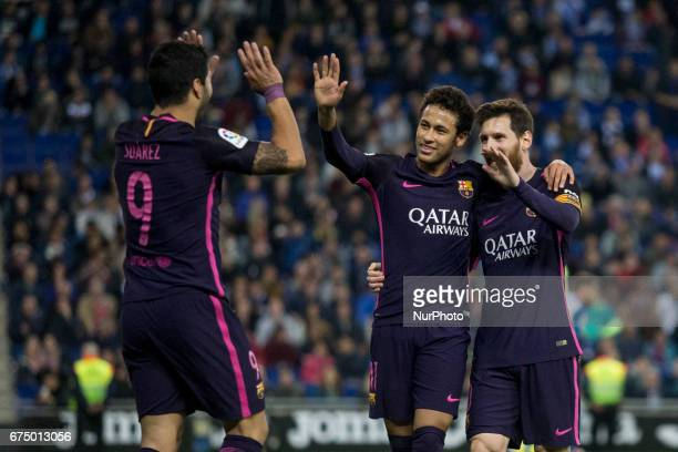 Luis Suarez of FC Barcelona celebrating the second goal of the match with Leo Messi FC Barcelona and Neymar da Silva of FC Barcelona during the...