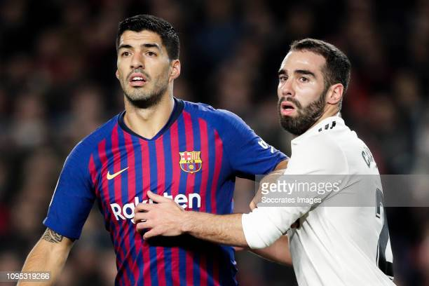 Luis Suarez of FC Barcelona Dani Carvajal of Real Madrid during the Spanish Copa del Rey match between FC Barcelona v Real Madrid at the Camp Nou on...
