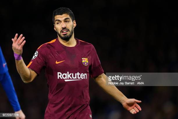 Luis Suarez of FC Barcelona during the UEFA Champions League Round of 16 First Leg match between Chelsea FC and FC Barcelona at Stamford Bridge on...