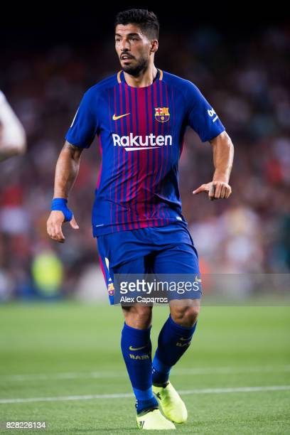 Luis Suarez of FC Barcelona gestures during the Joan Gamper Trophy match between FC Barcelona and Chapecoense at Camp Nou stadium on August 7 2017 in...