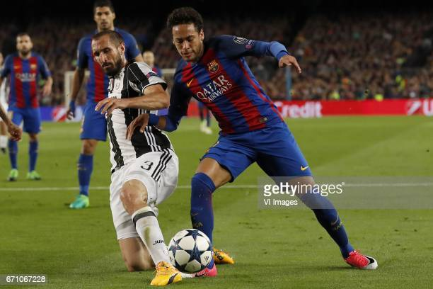 Luis Suarez of FC Barcelona Giorgio Chiellini of Juventus FC Neymar of FC Barcelonaduring the UEFA Champions League quarter final match between FC...