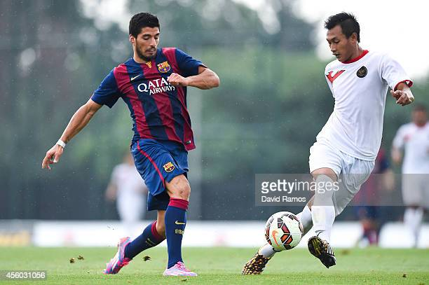Luis Suarez of FC Barcelona in action during a friendly match between FC Barcelona B and Indonesia U19 at Ciutat Esportiva on September 24 2014 in...