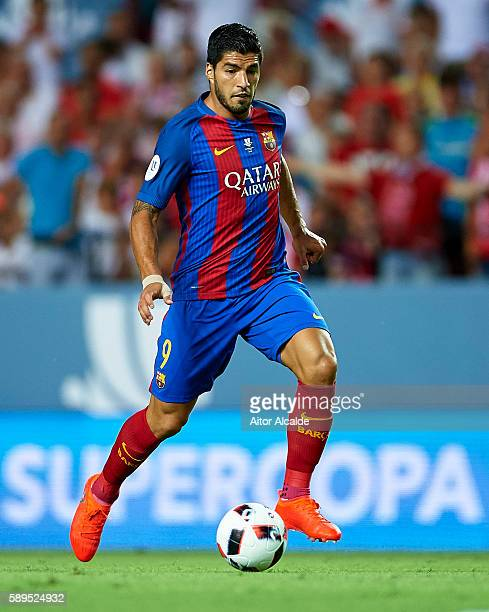 Luis Suarez of FC Barcelona in action during the match between Sevilla FC vs FC Barcelona as part of the Spanish Super Cup Final 1st Leg at Estadio...