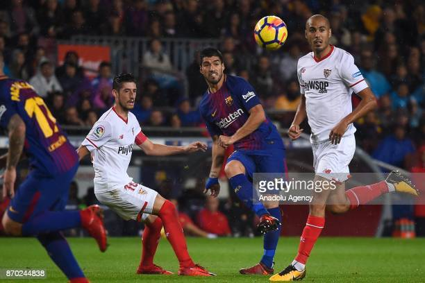 Luis Suarez of FC Barcelona in action during the Spanish league football match between FC Barcelona and Sevilla FC at the Camp Nou in Barcelona Spain...