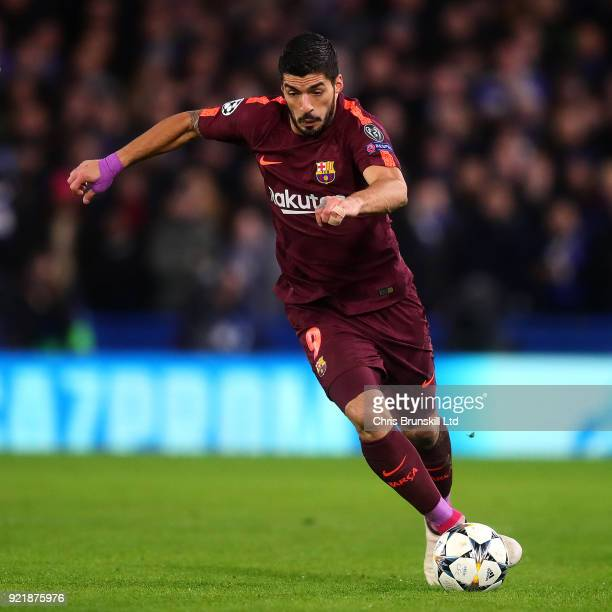 Luis Suarez of FC Barcelona in action during the UEFA Champions League Round of 16 First Leg match between Chelsea FC and FC Barcelona at Stamford...