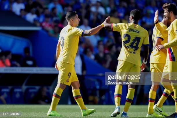 Luis Suarez of FC Barcelona Junior of FC Barcelona celebrate goal during the La Liga Santander match between Getafe v FC Barcelona at the Coliseum...