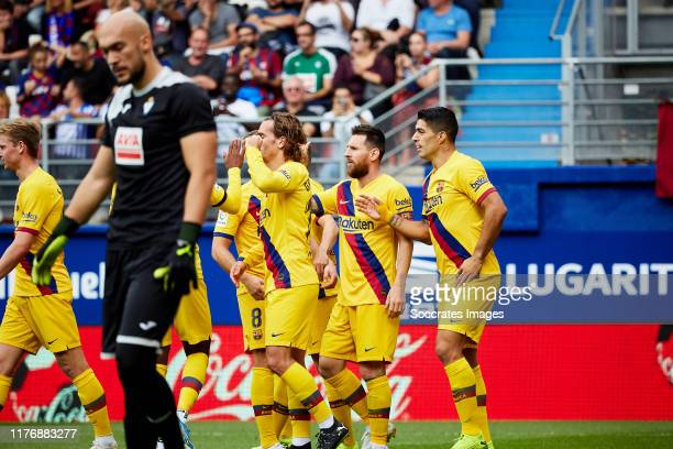 Luis Suarez of FC Barcelona Lionel Messi of FC Barcelona Antoine Griezmann of FC Barcelona during the La Liga SmartBank match between Eibar v FC...