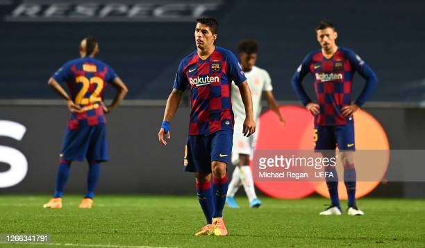 Luis Suarez of FC Barcelona looks dejected during the UEFA Champions League Quarter Final match between Barcelona and Bayern Munich at Estadio do...