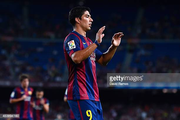 Luis Suarez of FC Barcelona looks on during the Joan Gamper Trophy match between FC Barcelona and Club Leon at Camp Nou on August 18 2014 in...