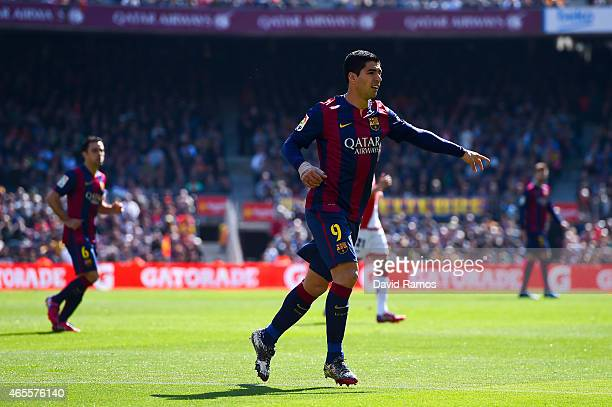 Luis Suarez of FC Barcelona looks on during the La Liga match between FC Barcelona and Rayo Vallecano de Madrid at Camp Nou on March 8 2015 in...
