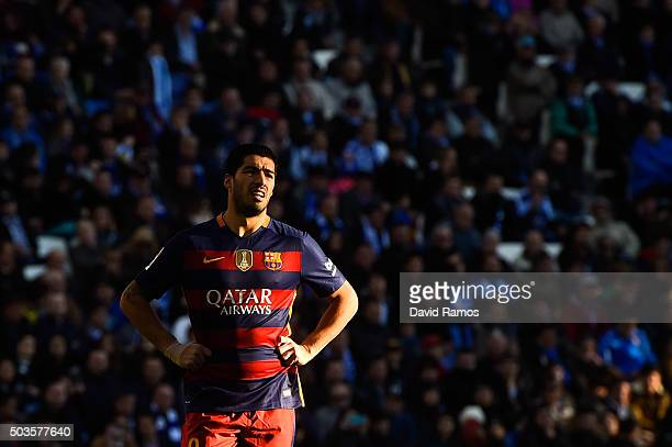 Luis Suarez of FC Barcelona looks on during the La Liga match between RCD Espanyol and FC Barcelona at CornellaEl Prat Stadium on January 2 2016 in...