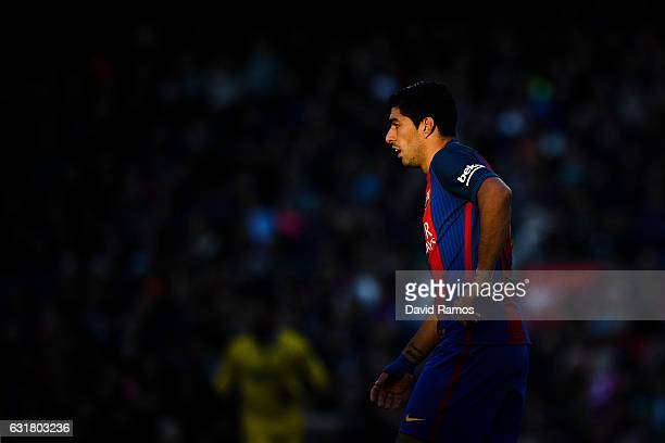 Luis Suarez of FC Barcelona looks on during the La Liga match between FC Barcelona and UD Las Palmas at Camp Nou stadium on January 14 2017 in...