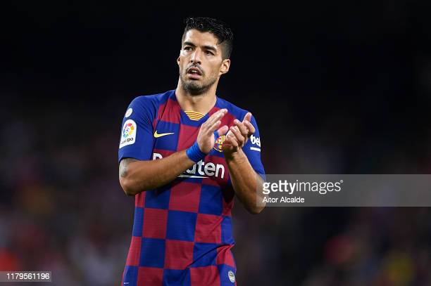 Luis Suarez of FC Barcelona looks on during the Liga match between FC Barcelona and Sevilla FC at Camp Nou on October 06, 2019 in Barcelona, Spain.