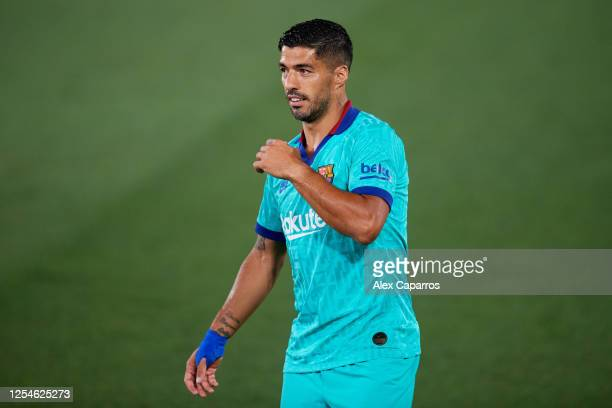 Luis Suarez of FC Barcelona looks on during the Liga match between Villarreal CF and FC Barcelona at Estadio de la Ceramica on July 05 2020 in...