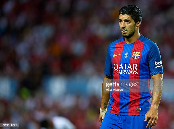 Luis Suarez of FC Barcelona looks on during the match between Sevilla FC vs FC Barcelona as part of the Spanish Super Cup Final 1st Leg at Estadio...