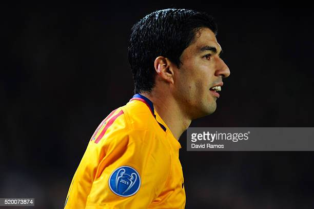 Luis Suarez of FC Barcelona looks on during the UEFA Champions League quarter final first leg match between FC Barcelona and Club Atletico de Madrid...