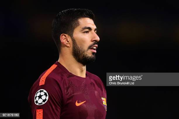 Luis Suarez of FC Barcelona looks on during the UEFA Champions League Round of 16 First Leg match between Chelsea FC and FC Barcelona at Stamford...