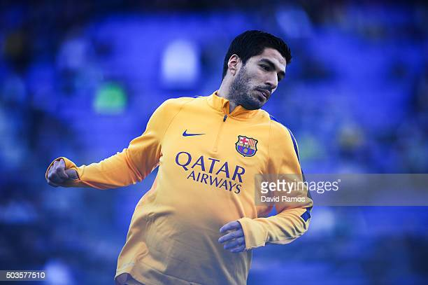 Luis Suarez of FC Barcelona looks on during the warm up prior to the La Liga match between RCD Espanyol and FC Barcelona at CornellaEl Prat Stadium...