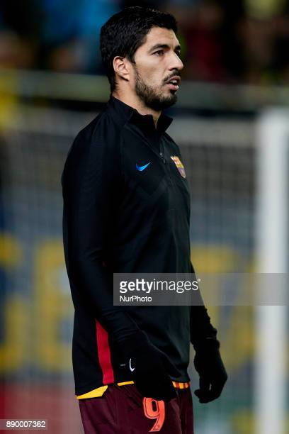Luis Suarez of FC Barcelona looks on prior to the La Liga game between Villarreal CF and FC Barcelona at Estadio de la Ceramica on December 10 2017...