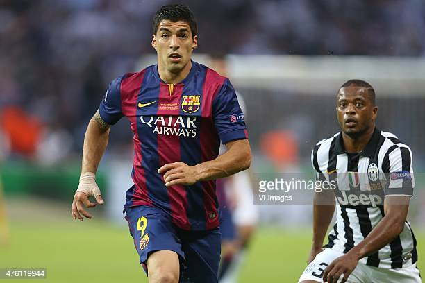 Luis Suarez of FC Barcelona Patrice Evra of Juventus FC during the UEFA Champions League final match between Barcelona and Juventus on June 6 2015 at...