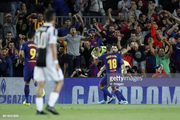 Luis Suarez of FC Barcelona Paulo Dybala of Juventus FC Jordi Alba of FC Barcelona Lionel Messi of FC Barcelona during the UEFA Champions League...