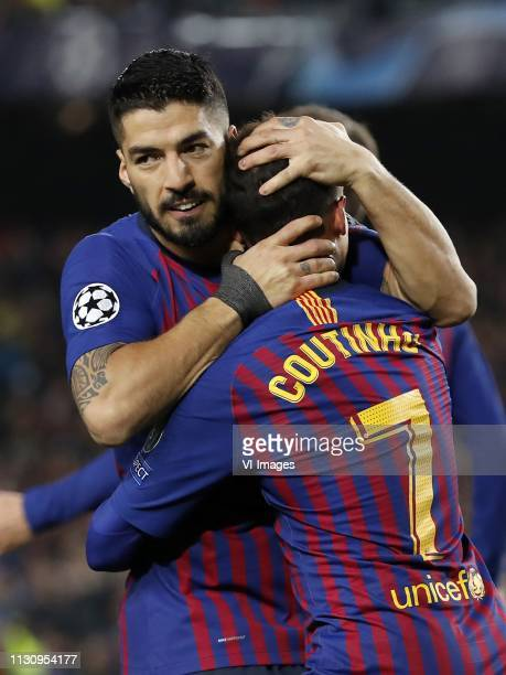 Luis Suarez of FC Barcelona Philippe Coutinho of FC Barcelona during the UEFA Champions League round of 16 match between FC Barcelona and Olympique...