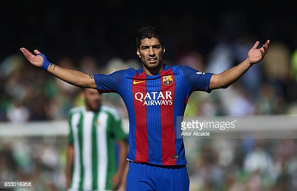 Luis Suarez of FC Barcelona reacts during La Liga match between Real Betis Balompie and FC Barcelona at Benito Villamarin Stadium on January 29 2017...