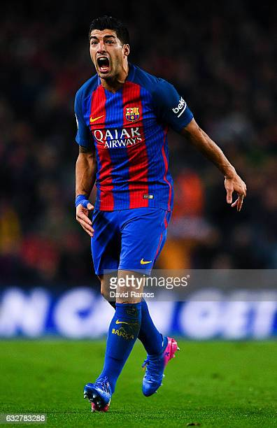Luis Suarez of FC Barcelona reacts during the Copa del Rey quarterfinal second leg match between FC Barcelona and Real Sociedad at Camp Nou on...