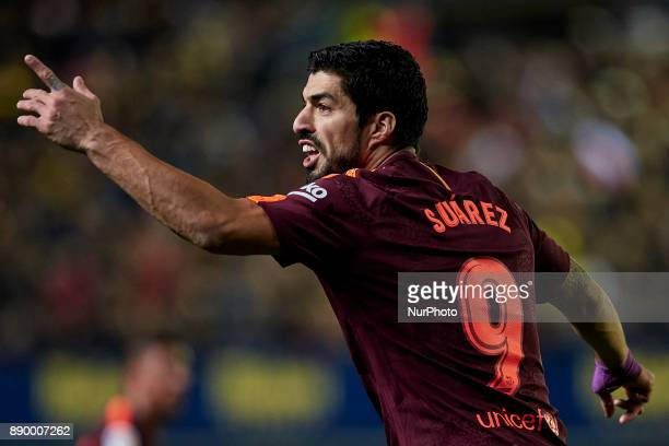 Luis Suarez of FC Barcelona reacts during the La Liga game between Villarreal CF and FC Barcelona at Estadio de la Ceramica on December 10 2017 in...