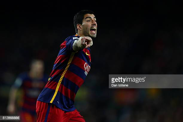 Luis Suarez of FC Barcelona reacts during the La Liga match between FC Barcelona and Sevilla FC at Camp Nou on February 28 2016 in Barcelona Spain