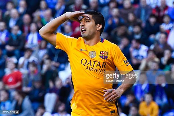 Luis Suarez of FC Barcelona reacts during the La Liga match between RC Deportivo La Coruna and FC Barcelona at Riazor Stadium on April 20 2016 in La...