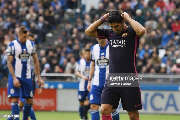 Luis Suarez of FC Barcelona reacts during the La Liga match between RC Deportivo La Coruna and FC Barcelona at Riazor Stadium on March 12 2017 in La...